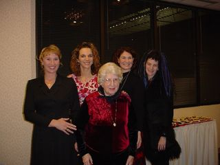 Mom with granddaughters at 90th