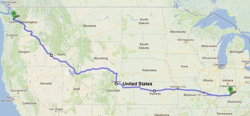 Seattle to Louisville 2439 miles