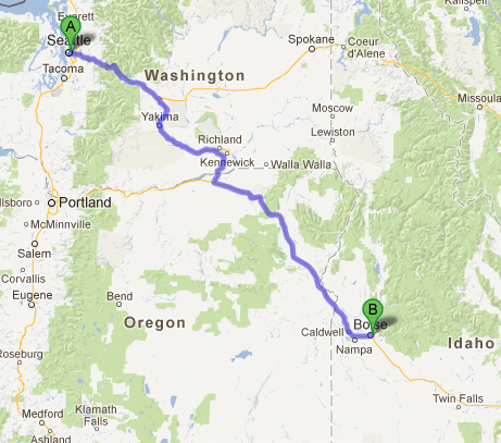 Seattle to Boise 505 miles