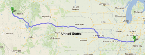 Louisville to Boise 1875 miles